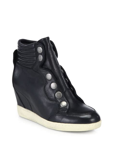 wedge sneakers black ash blade leather wedge sneakers in black lyst