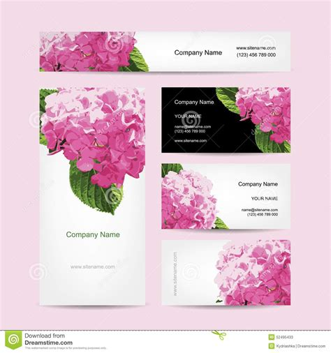 flower design visiting card set of business cards design with hydrangea flower stock