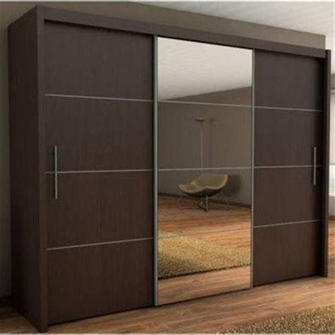 Interior Mirror Sliding Door Wardrobe Cabinet Black