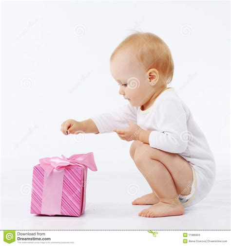 gift from baby baby with gift box stock photo image of elementary child