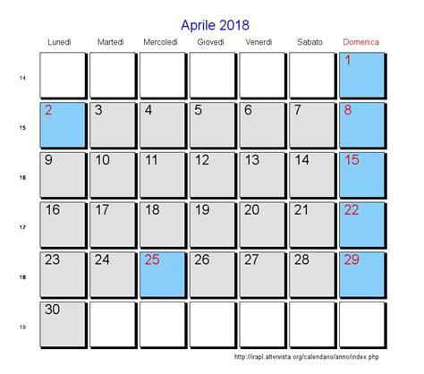 Calendario 2018 Aprile Calendario Aprile 2018 Con Festivit 224 E Fasi Lunari Pasqua
