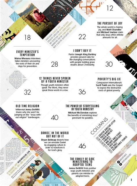 design ways magazine really cool design for a table of contents i don t want