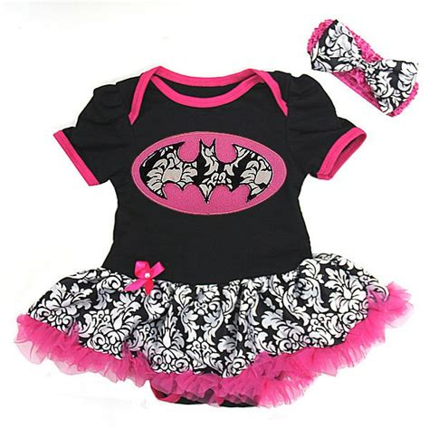 Black pink damask bat girl batgirl tutu outfit onesie for baby girls 0 to 18 months