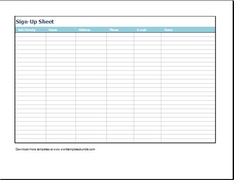 template for sign up sheet ms excel signup sheet template formal word templates