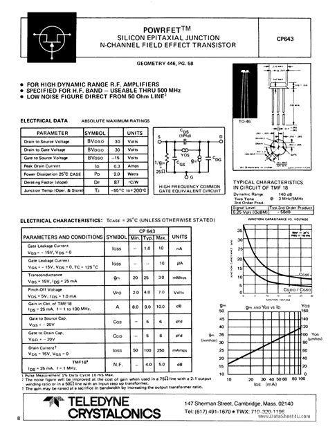 transistor fet pdf cp643 datasheet pdf pinout silicon epitaxial junction n channel field effect transistor