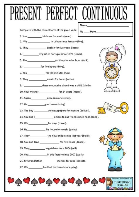 printable worksheets present continuous tense present perfect continuous worksheet free esl printable