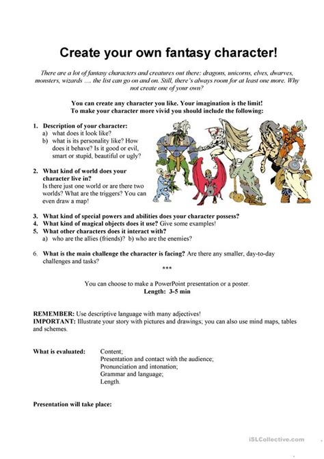 Creating A Character Worksheet by Create Your Own Character Worksheet Free Esl Printable Worksheets Made By Teachers