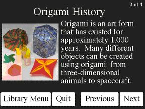 Origami History Facts - building a demonstration multimedia electronic performance