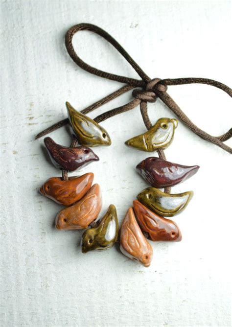 10 ceramic bird handmade size small green