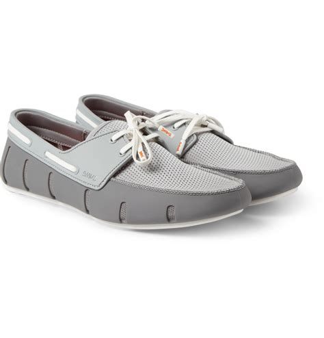 swims rubber loafers swims rubber and mesh loafers in gray for lyst