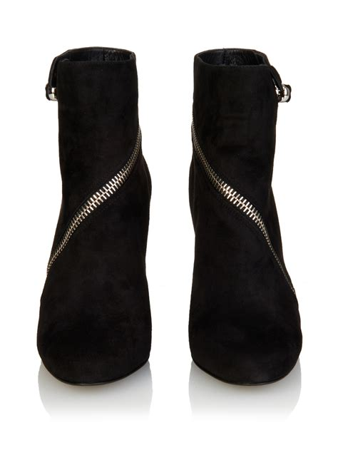 mcqueen boots mcqueen suede wedge ankle boots in black lyst