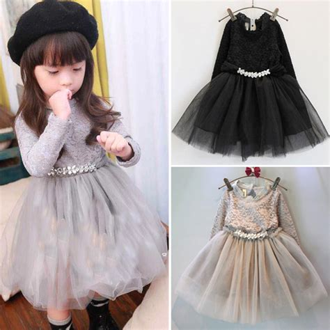 13702218 White Cherry Dress Anak toddler baby lace dress black gray winter clothes children s thick dresses wear