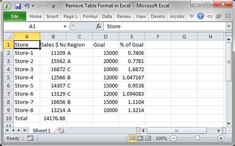 format html table for excel remove table format in excel teachexcel com