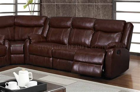 Motion Sectional Sofas U9303 Motion Sectional Sofa In Brown Bonded Leather By Global