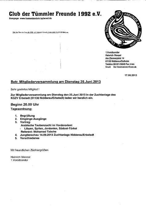 Die Einladung zur Versammlung - 25. Juni 2013