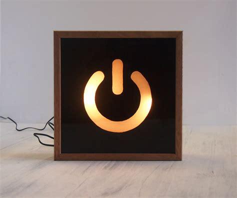 led light box sign light box hand painted power switch symbol wooden lightbox