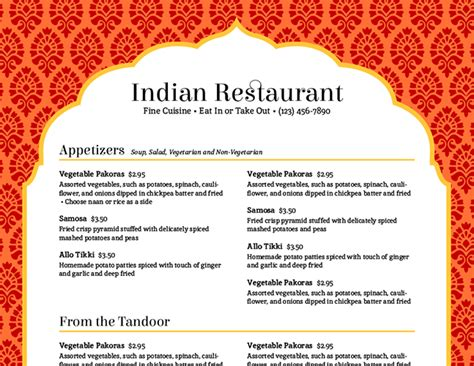 indian restaurant menu template imenupro cmyung