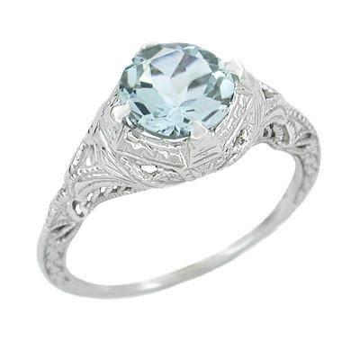 Art Deengraved Filigree Aquamarine En Ement Ring In