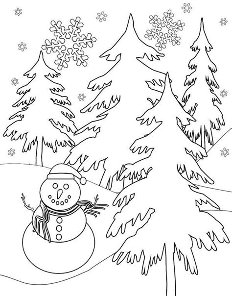 Snowman Winter Coloring Page Winter Pinterest Snowman Tree And Snowman Coloring Pages