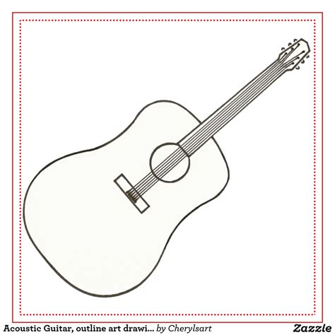 Acoustic Guitar Outline Drawing by Big Guitar Outline Drawing Free Clip Free