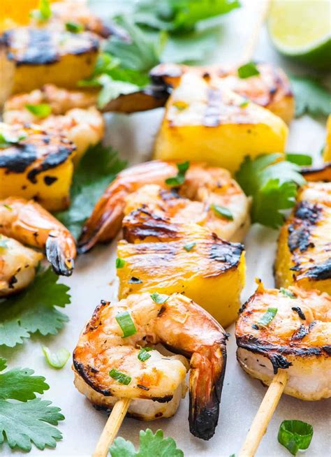 recipe shrimp and scallion skewers with creamy grilled pepper sauce coconut pineapple shrimp skewers