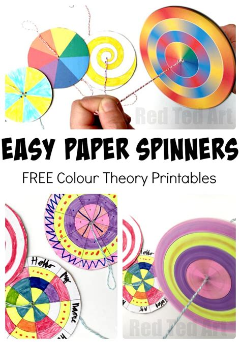 easy printable art projects diy paper spinner toys red ted art s blog