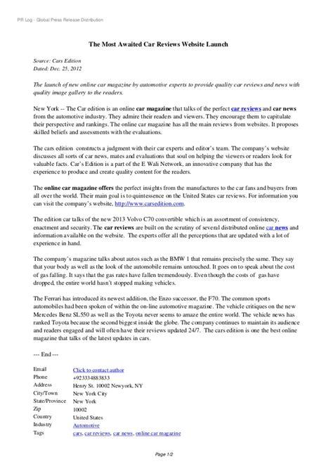 Automotive Website Launch Press Release Sle Website Launch Template