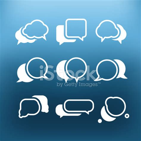 white communication cloud icons clip art on color