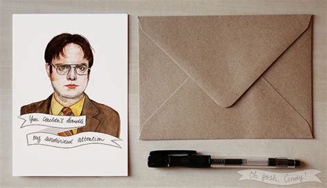 the office cards dwight schrute greeting card watercolor the office by