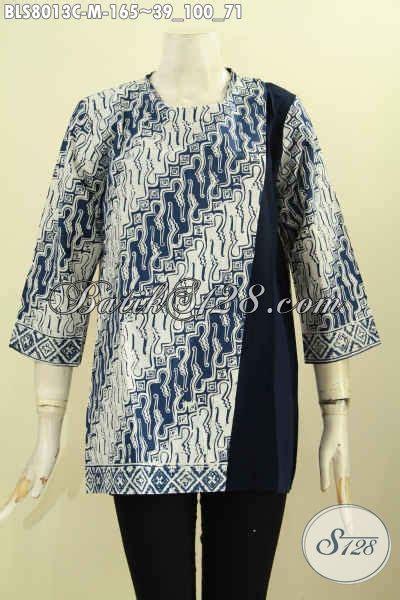 Baju Polo Kerah Kancing model baju batik wanita kombinasi kain polos blus batik pias kancing belakang motif klasik