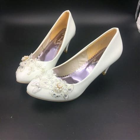 White Bridal Heels by Ivory White Bridal Low Heels Wedding Shoes Flower Lace