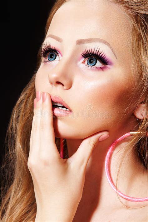 fashion doll makeup fashion model with doll make up eyelashes stock