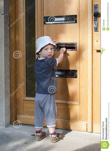 Child The Doors by Child At Door With Letterbox Stock Photo Image 21087022
