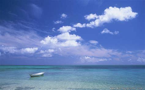 seaside landscape blue sky boat landscape wallpapers