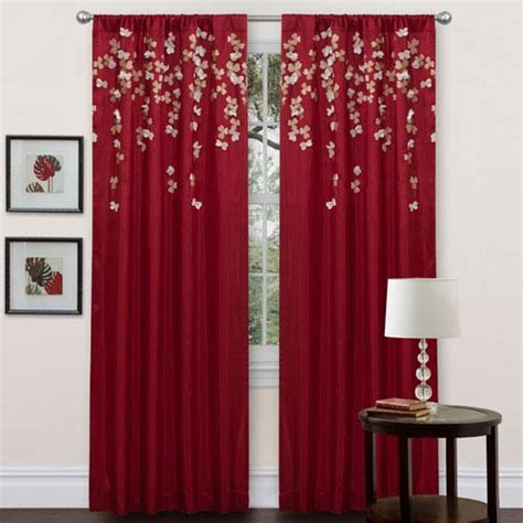 red window curtains red window panel bellacor