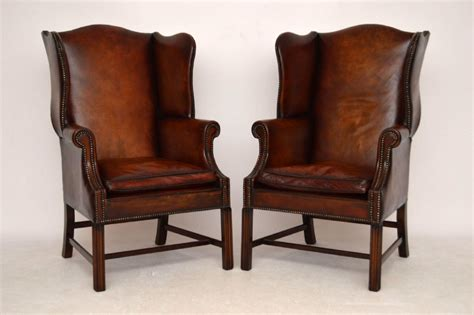 Wing Armchairs Uk by Pair Of Antique Georgian Style Leather Wing Back Armchairs