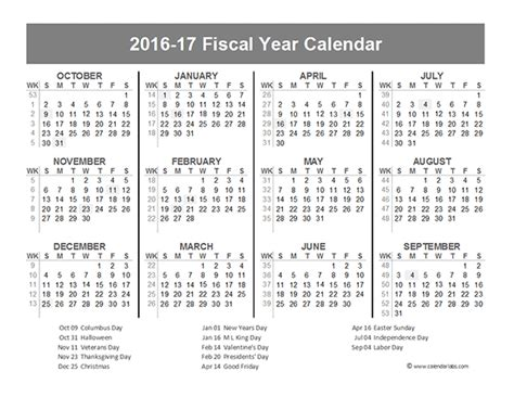 Us Calendar 2016 2016 Fiscal Year Calendar Usa 10 Free Printable Templates