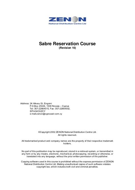 Reservation Letter Insurance Sabre Reservation Manual