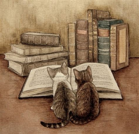 cats and books books cats paint painting image 286808 on favim