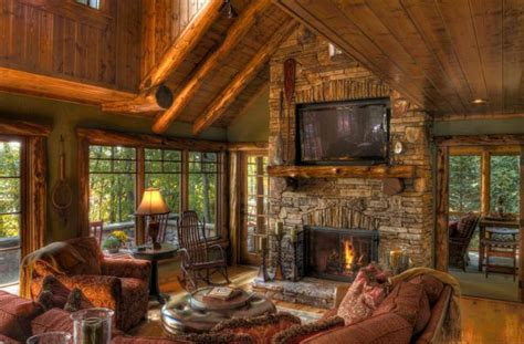 beautiful log cabin living rooms log cabin living room 2 the pros and cons of having a tv over the fireplace
