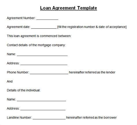 Loan Agreement Template Microsoft by Sle Loan Agreement 10 Free Documents In Pdf