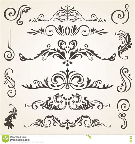 calligraphic design elements and page decoration vector set calligraphic design elements and page decoration vector