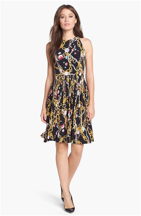 Dress Hodie New York isaac mizrahi new york print jersey fit flare dress in black black gold lyst