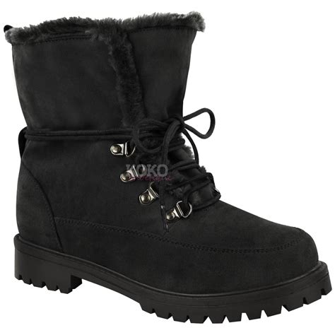 Faux Fur Lace Up Ankle Boots new womens faux fur grip sole lace up winter ankle