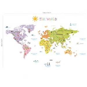 Wall Sticker Map the world map wall stickers