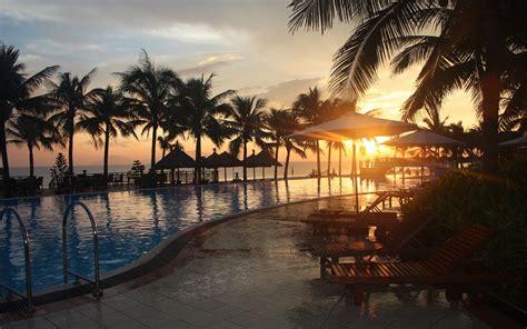tropical sunset paradise beach coast sea ocean palm summer