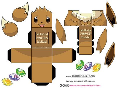print out paper crafts eevee by animepapertoys via flickr paper toys