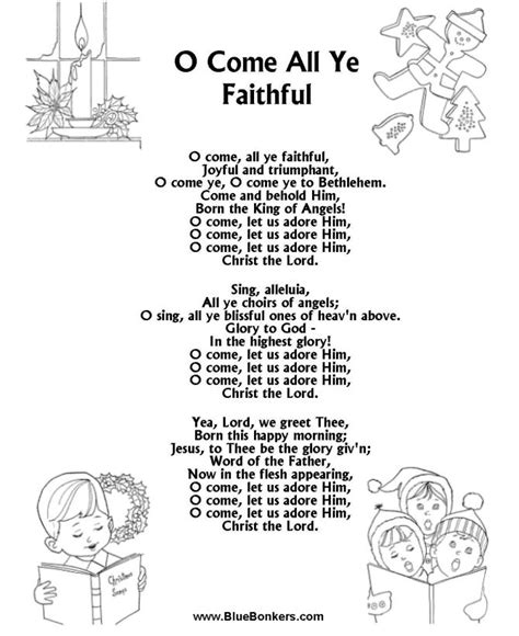 bluebonkers christmas lyrics free printable words for quot o come all ye faithful quot song sheets gt carol lyrics