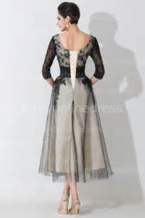 3 4 sleeve scoop lace prom gowns 2015 tea length a line