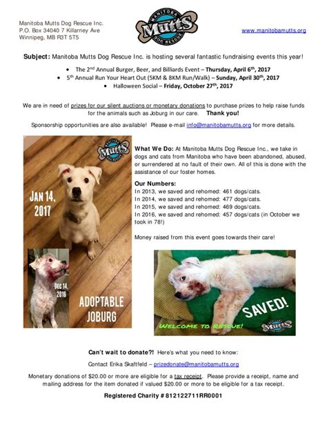 Petition Letter Pup Donate Manitoba Mutts Rescue